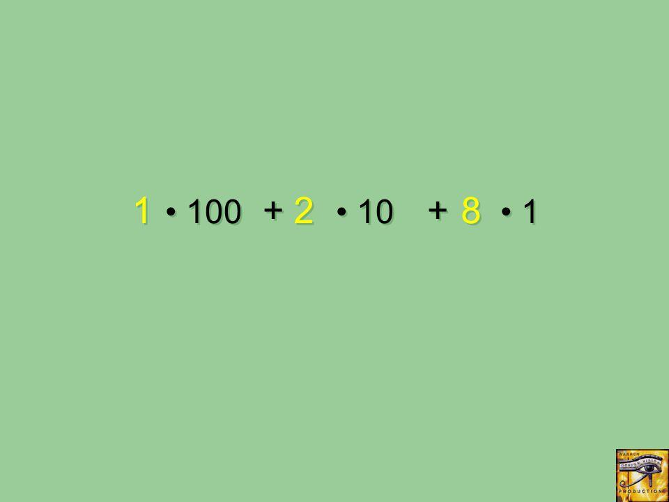 100 + 10 + 1 1 1 2 2 8 8
