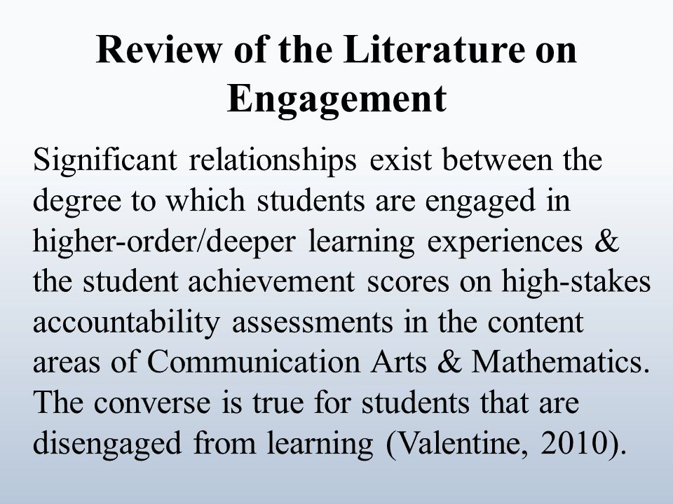 Review of the Literature on Engagement