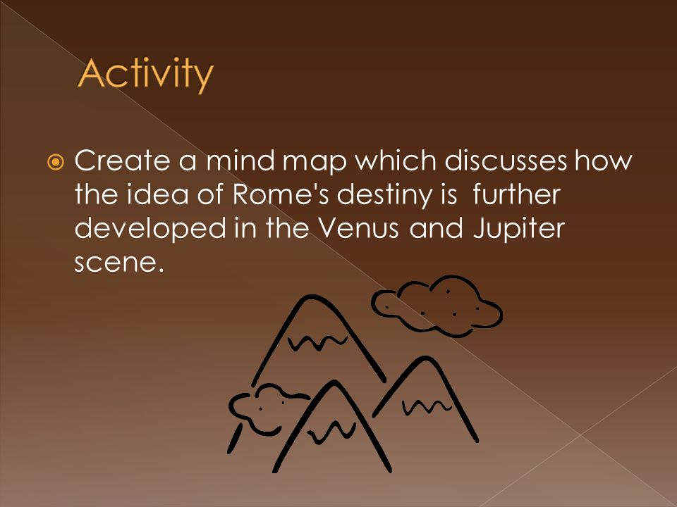  Create a mind map which discusses how the idea of Rome's destiny is further developed in the Venus and Jupiter scene.