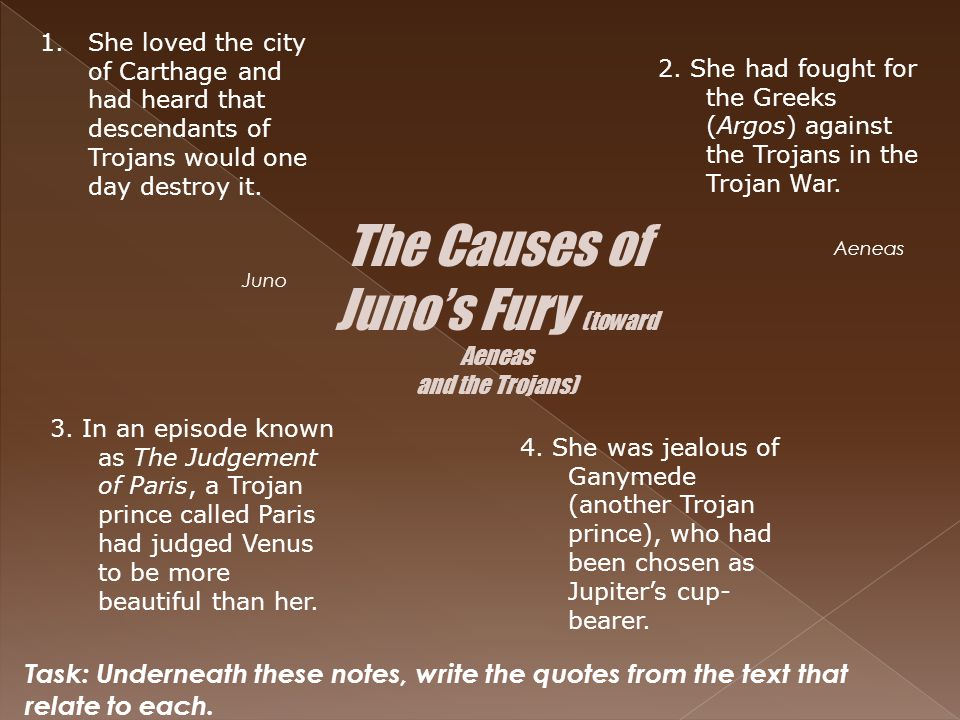 The Causes of Juno's Fury (toward Aeneas and the Trojans) 1.She loved the city of Carthage and had heard that descendants of Trojans would one day des