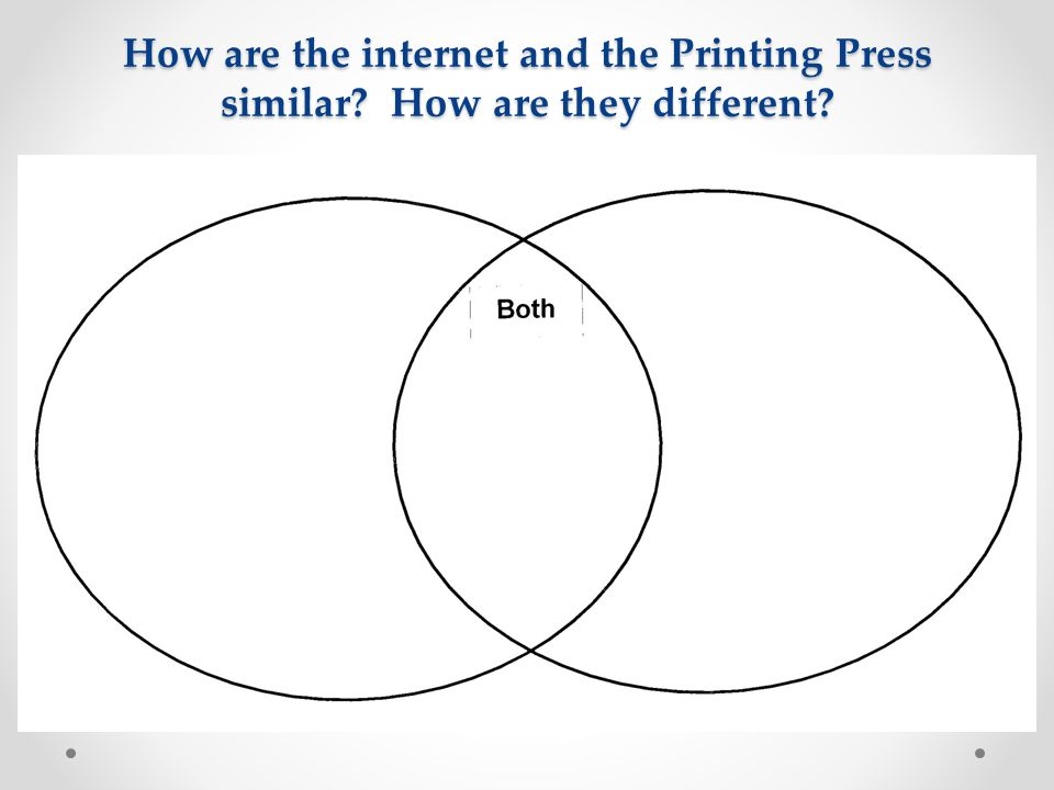 How are the internet and the Printing Press similar? How are they different?