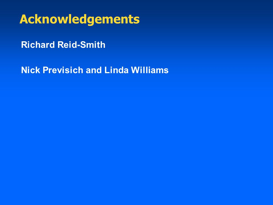 Acknowledgements Richard Reid-Smith Nick Previsich and Linda Williams
