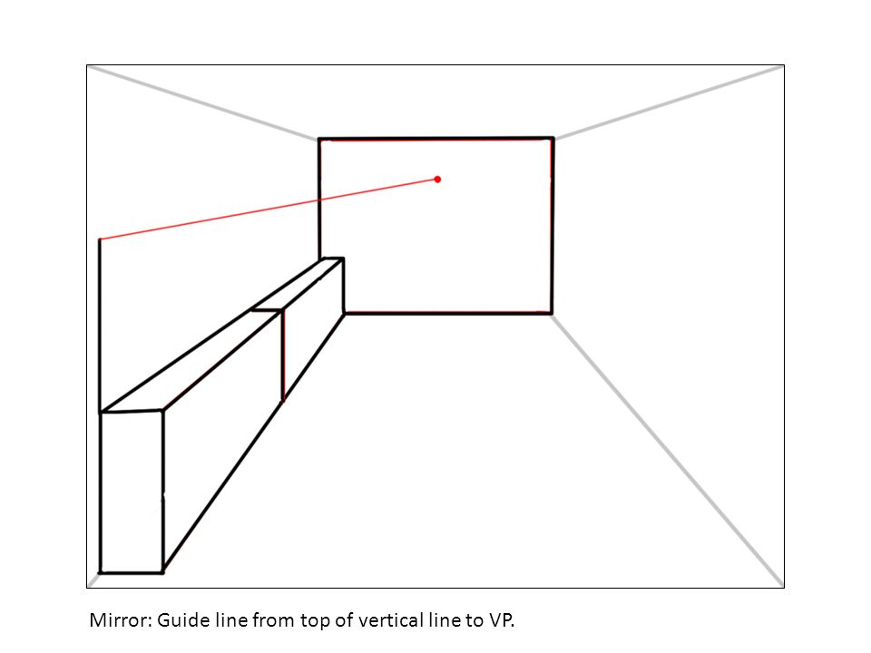 Mirror: Guide line from top of vertical line to VP.