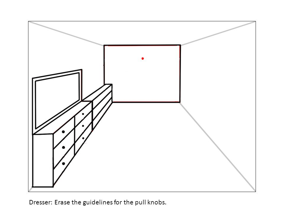 Dresser: Erase the guidelines for the pull knobs.