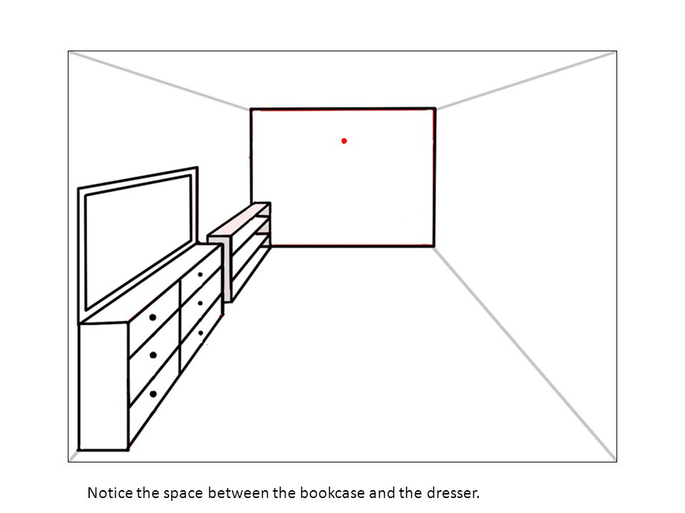 Notice the space between the bookcase and the dresser.