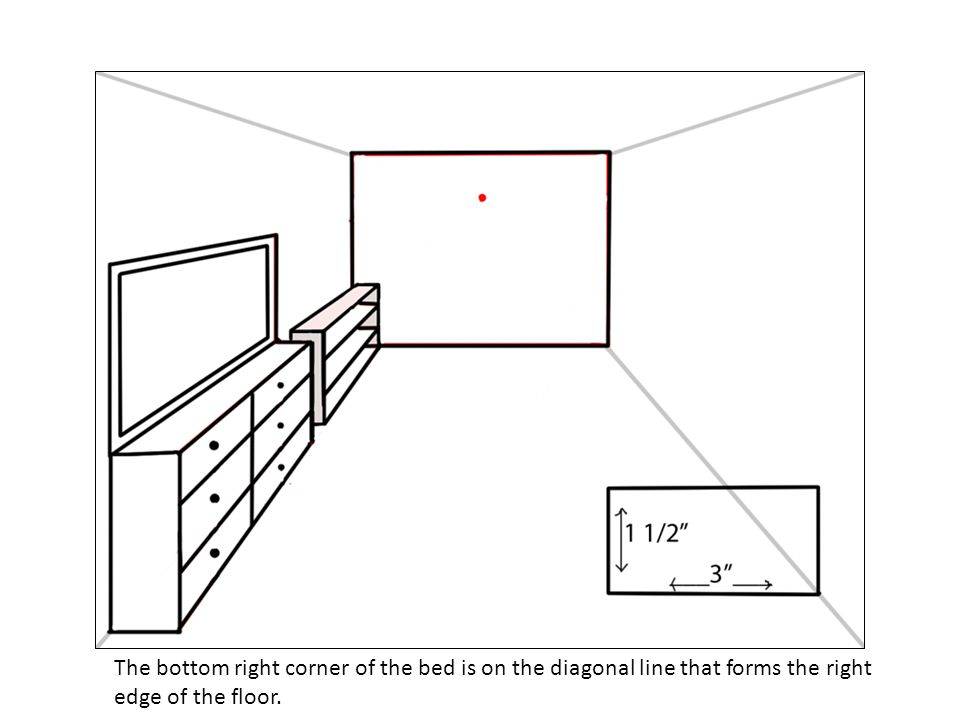 The bottom right corner of the bed is on the diagonal line that forms the right edge of the floor.
