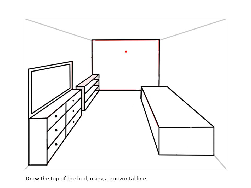 Draw the top of the bed, using a horizontal line.
