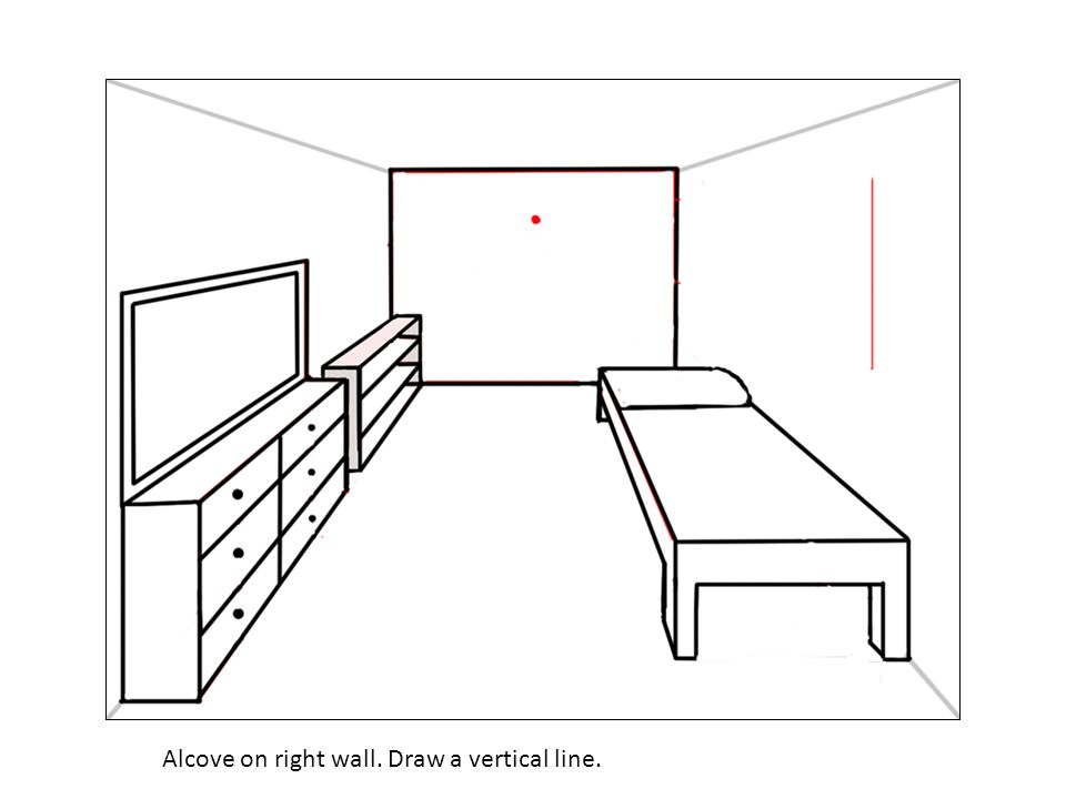 Alcove on right wall. Draw a vertical line.