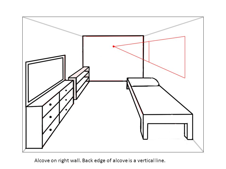 Alcove on right wall. Back edge of alcove is a vertical line.