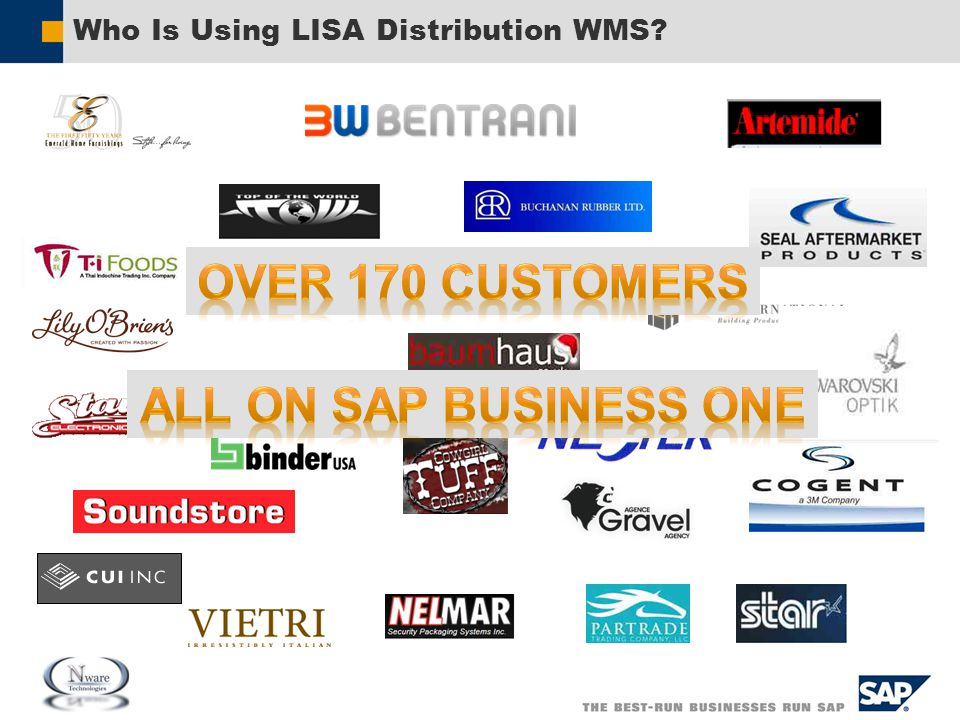 Additional Benefits of LISA Distribution WMS  All Reports and Forms are in Crystal Reports  Packing Slips  Since the Hand Held Application is Web Based, it can run across multiple platforms (i.e., Hand Held Computers, Netbooks, PC Workstations, etc.).
