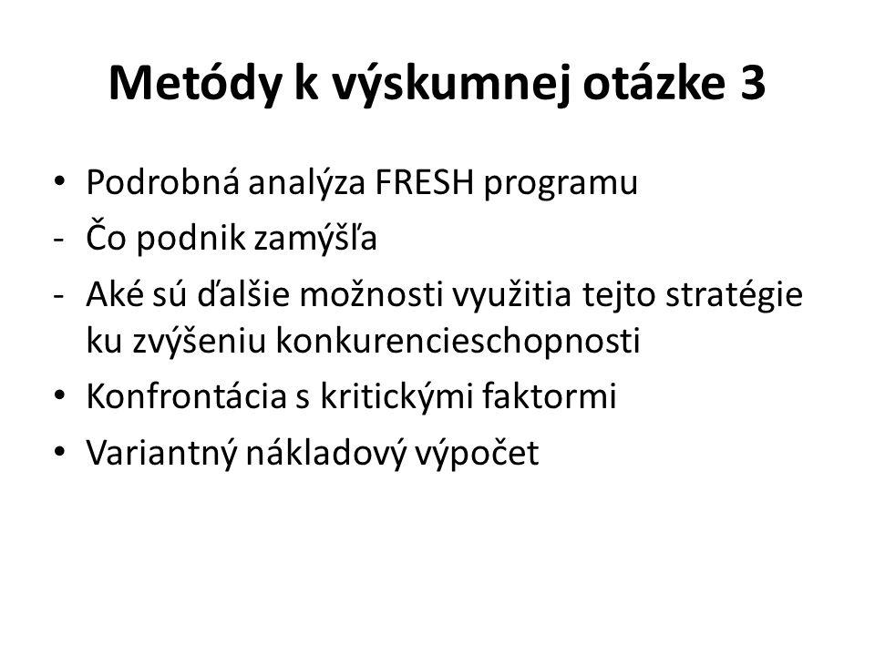 Metódy k výskumnej otázke 3 Podrobná analýza FRESH programu -Čo podnik zamýšľa -Aké sú ďalšie možnosti využitia tejto stratégie ku zvýšeniu konkurencieschopnosti Konfrontácia s kritickými faktormi Variantný nákladový výpočet