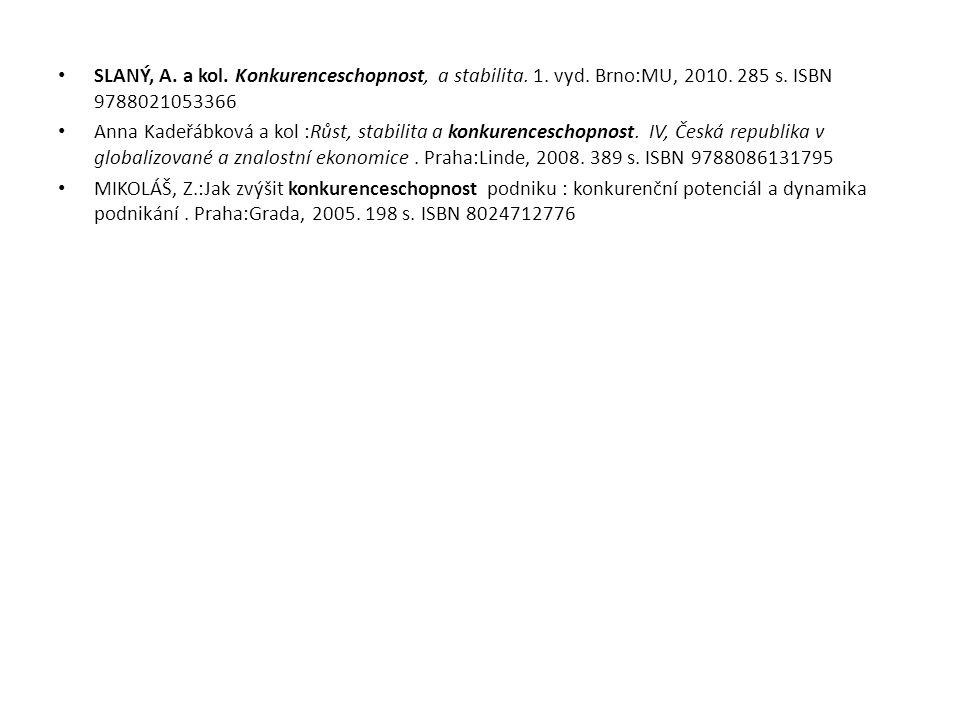 SLANÝ, A. a kol. Konkurenceschopnost, a stabilita. 1. vyd. Brno:MU, 2010. 285 s. ISBN 9788021053366 Anna Kadeřábková a kol :Růst, stabilita a konkuren