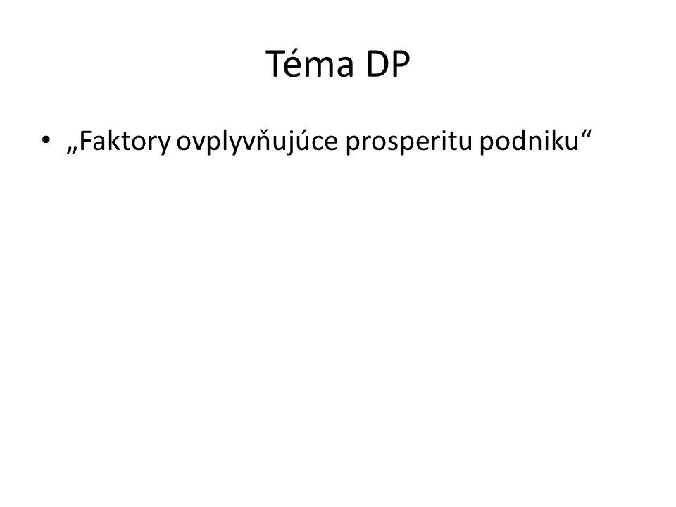 """Téma DP """"Faktory ovplyvňujúce prosperitu podniku"""