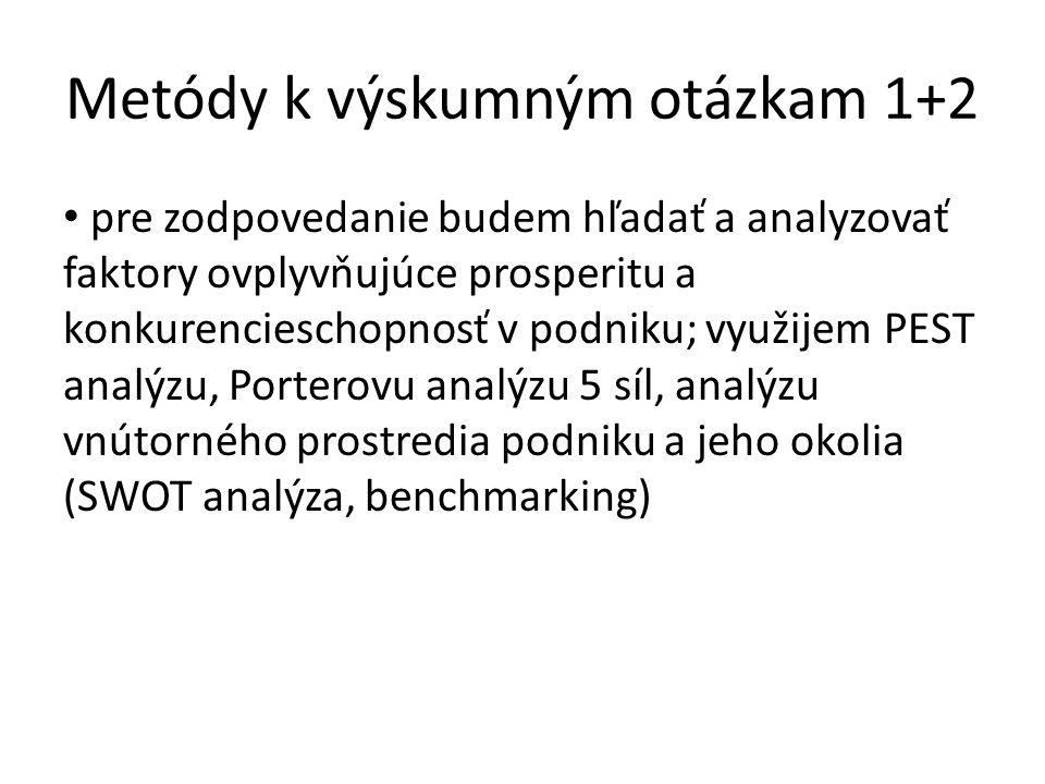 Metódy k výskumným otázkam 1+2 pre zodpovedanie budem hľadať a analyzovať faktory ovplyvňujúce prosperitu a konkurencieschopnosť v podniku; využijem PEST analýzu, Porterovu analýzu 5 síl, analýzu vnútorného prostredia podniku a jeho okolia (SWOT analýza, benchmarking)