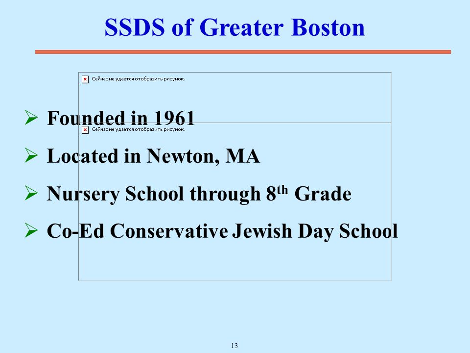  Founded in 1961  Located in Newton, MA  Nursery School through 8 th Grade  Co-Ed Conservative Jewish Day School SSDS of Greater Boston 13