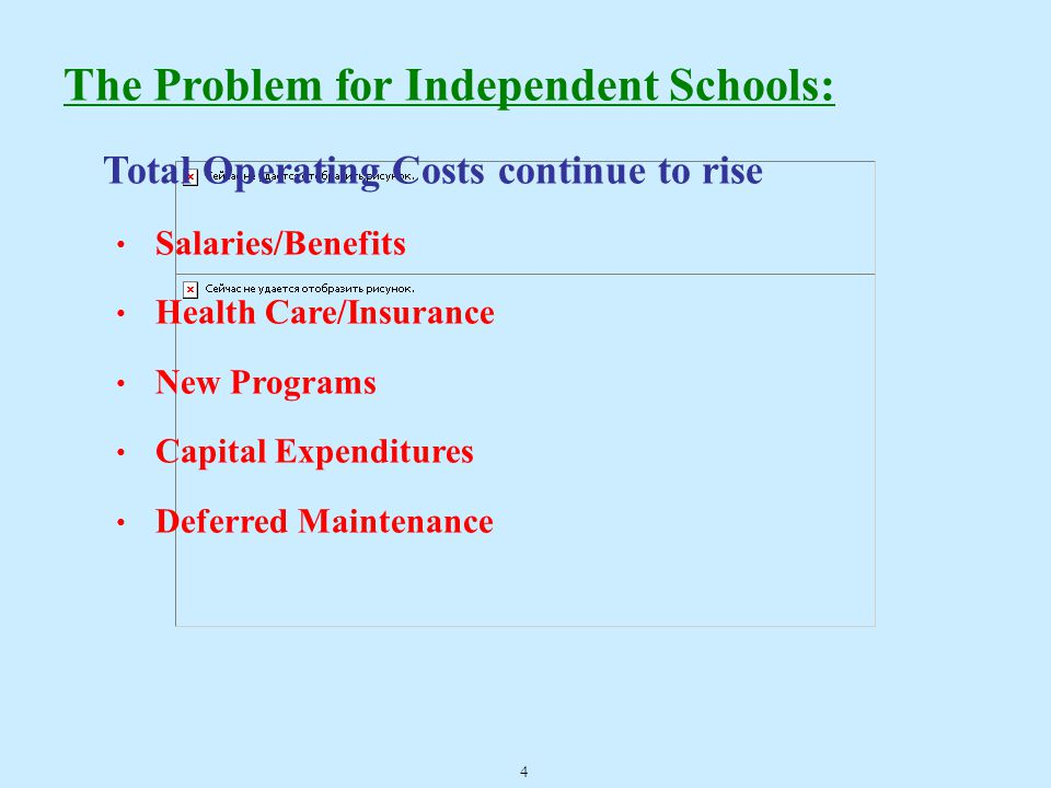 The Problem for Independent Schools: Total Operating Costs continue to rise Salaries/Benefits Health Care/Insurance New Programs Capital Expenditures Deferred Maintenance 4