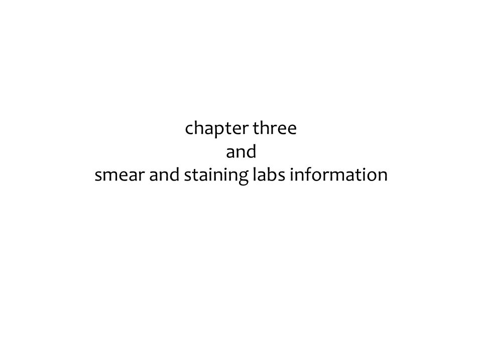 chapter three and smear and staining labs information