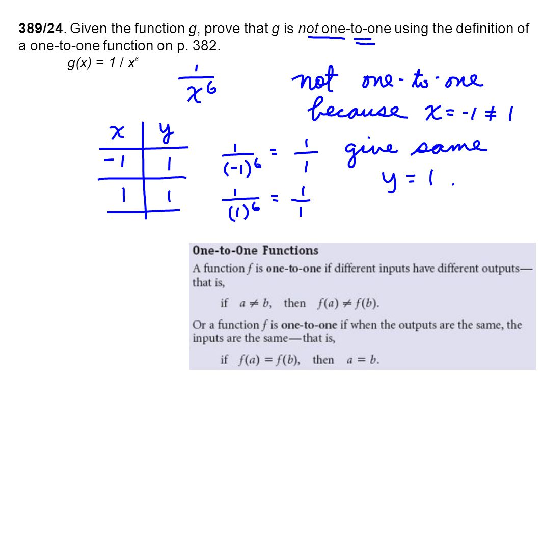 389/24. Given the function g, prove that g is not one-to-one using the definition of a one-to-one function on p. 382. g(x) = 1 / x 6