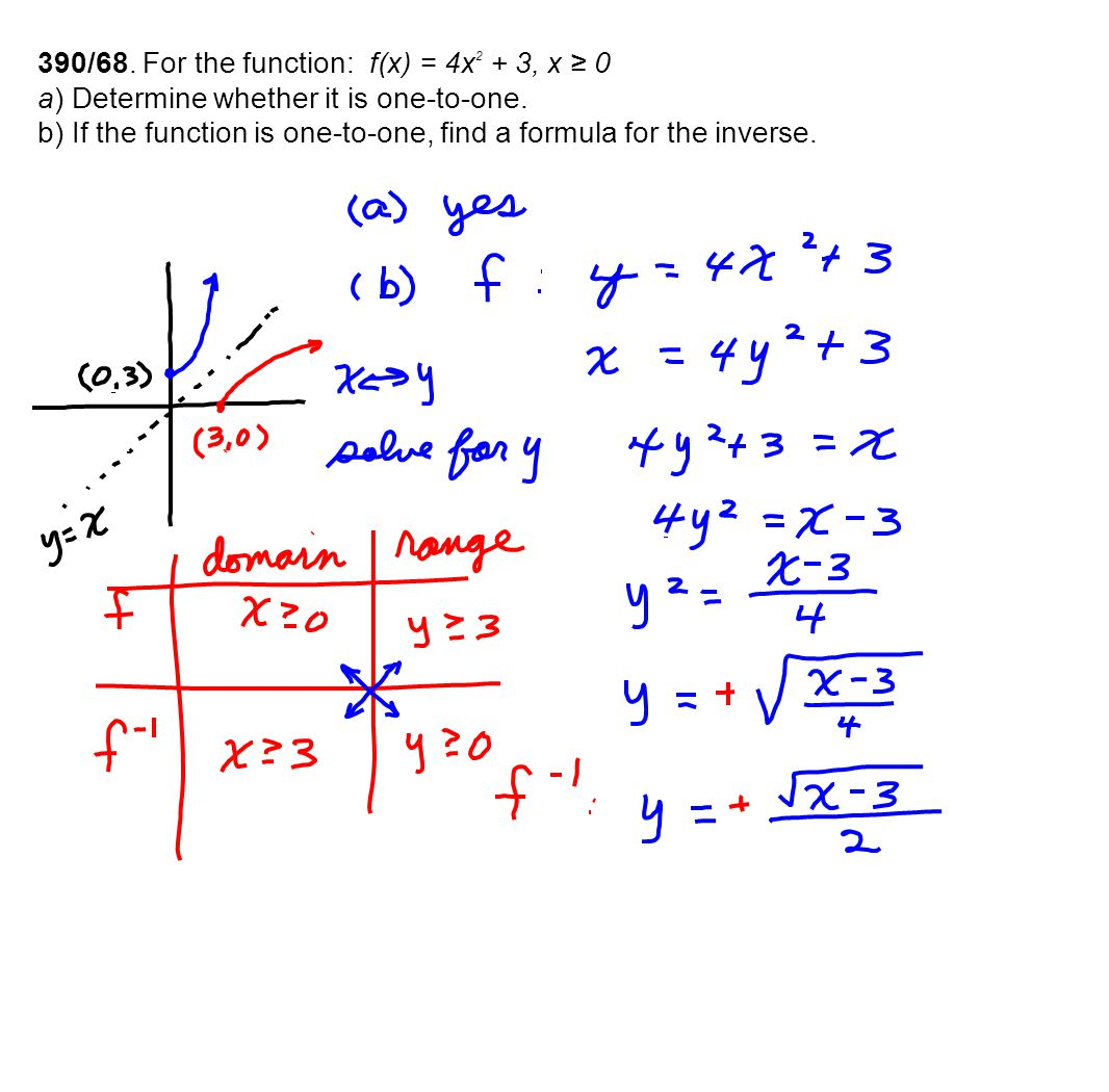 390/68. For the function: f(x) = 4x 2 + 3, x ≥ 0 a) Determine whether it is one-to-one. b) If the function is one-to-one, find a formula for the inver