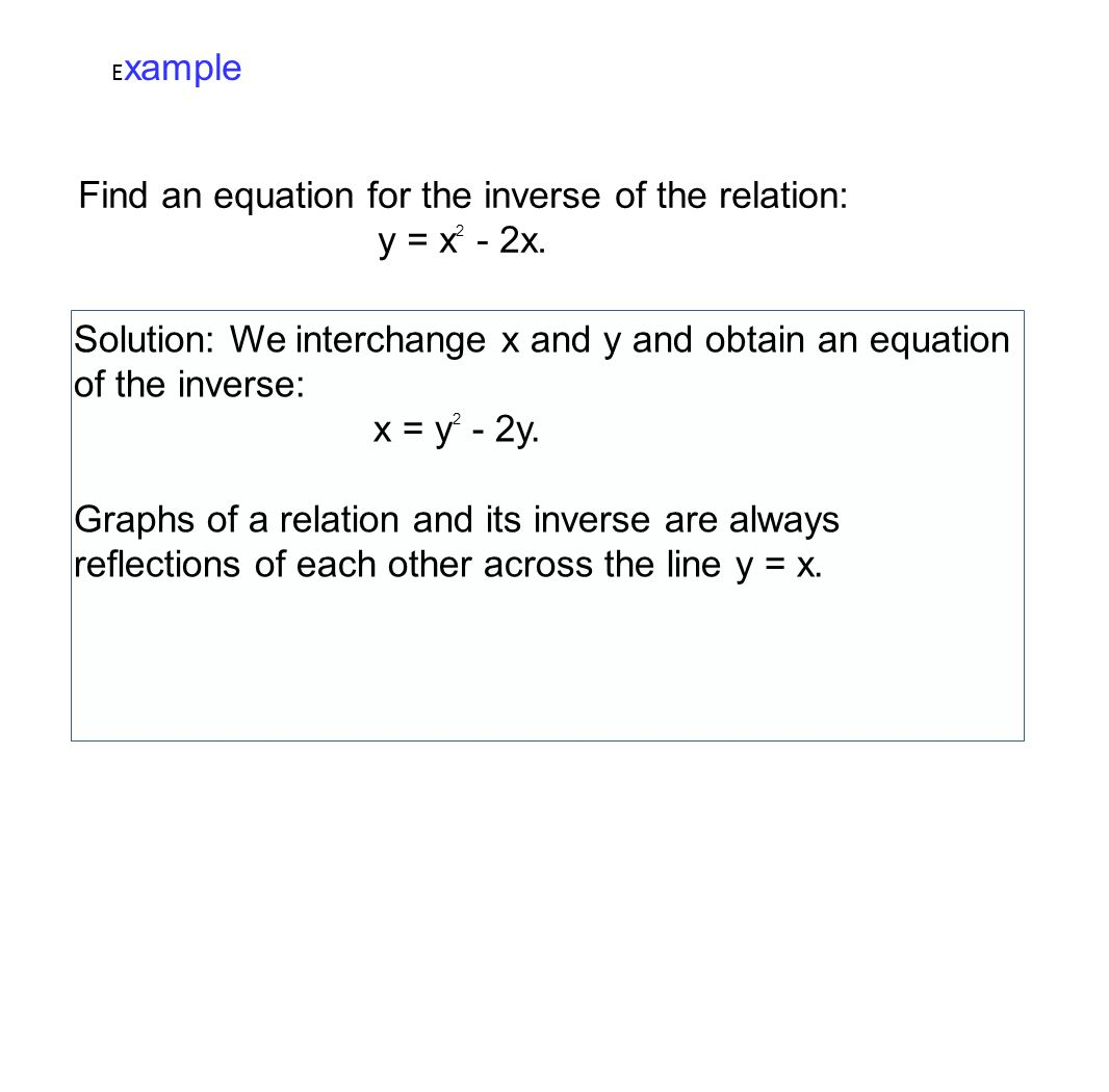 E xample Find an equation for the inverse of the relation: y = x 2 - 2x. Solution: We interchange x and y and obtain an equation of the inverse: x = y