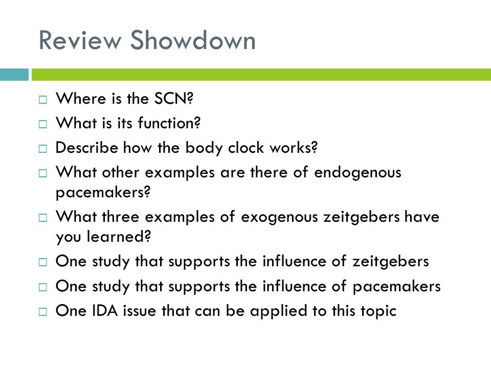 Review Showdown  Where is the SCN?  What is its function?  Describe how the body clock works?  What other examples are there of endogenous pacemak