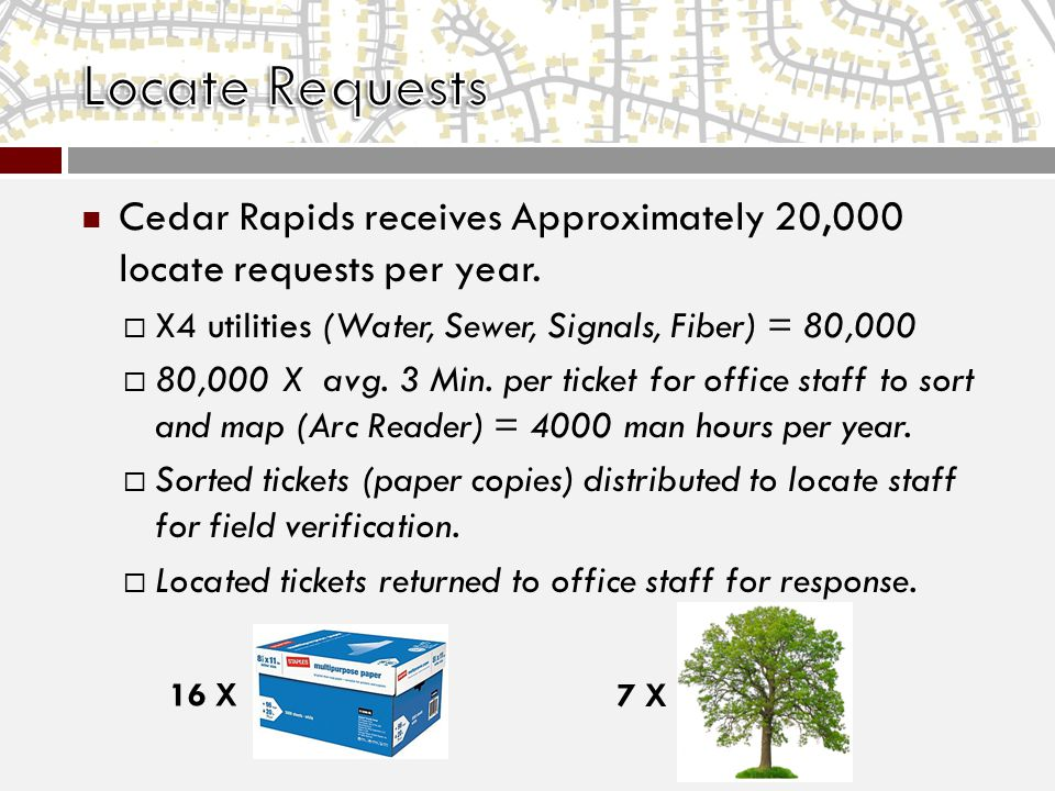 Cedar Rapids receives Approximately 20,000 locate requests per year.