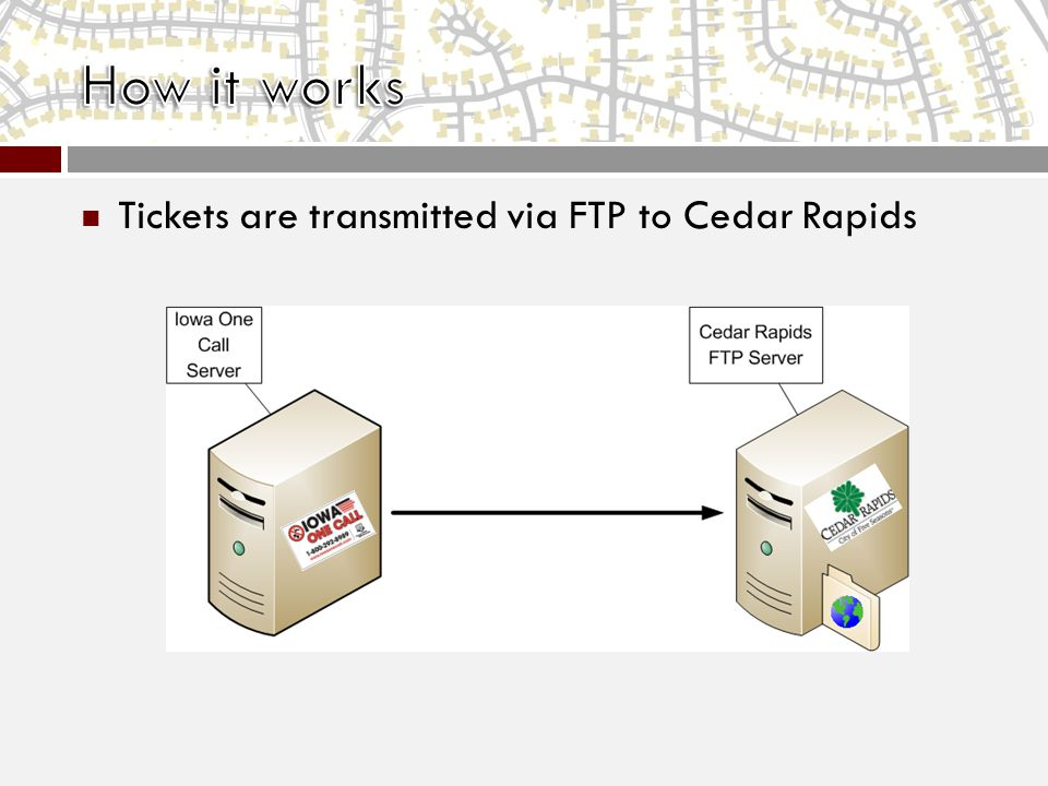 Tickets are transmitted via FTP to Cedar Rapids
