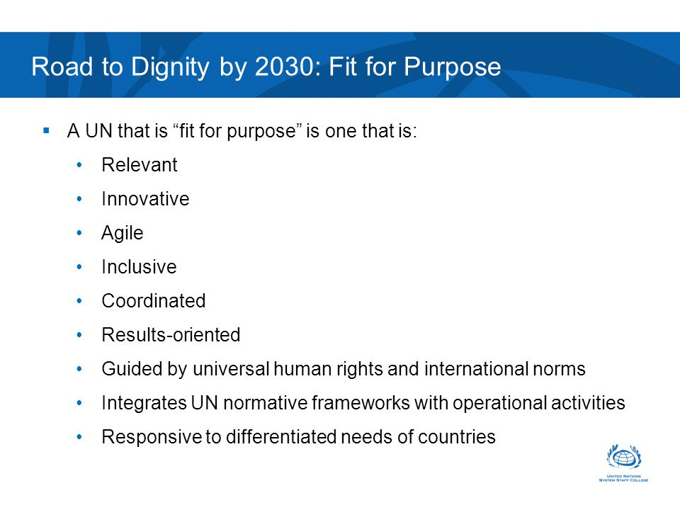 UN Fit for Purpose Specialized advice Integrated approach Various disciplines with relevant skills sets Forge Partnerships Road to Dignity by 2030: Fit for Purpose Shared goals Visionary and committed leadership Global, highly skilled and adaptable international civil service
