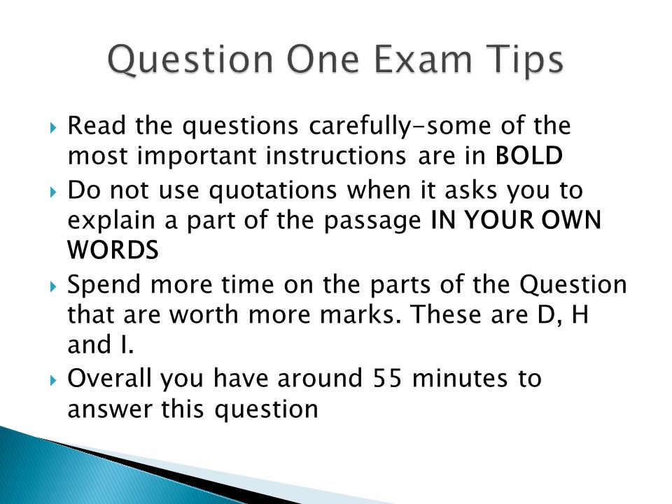  Read the questions carefully-some of the most important instructions are in BOLD  Do not use quotations when it asks you to explain a part of the p