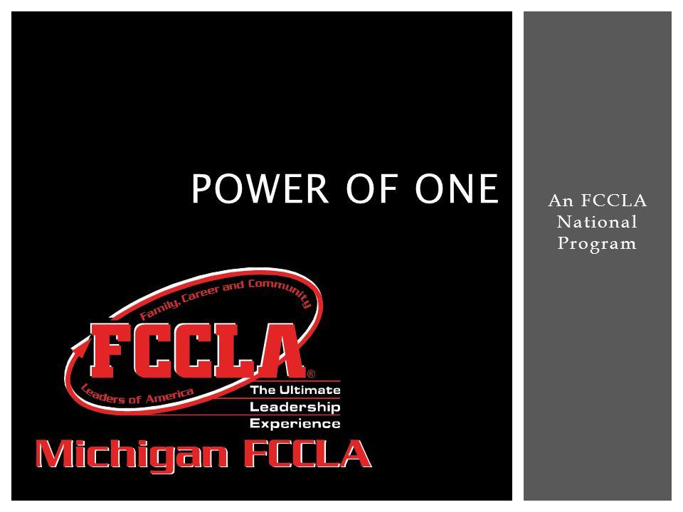 An FCCLA National Program POWER OF ONE