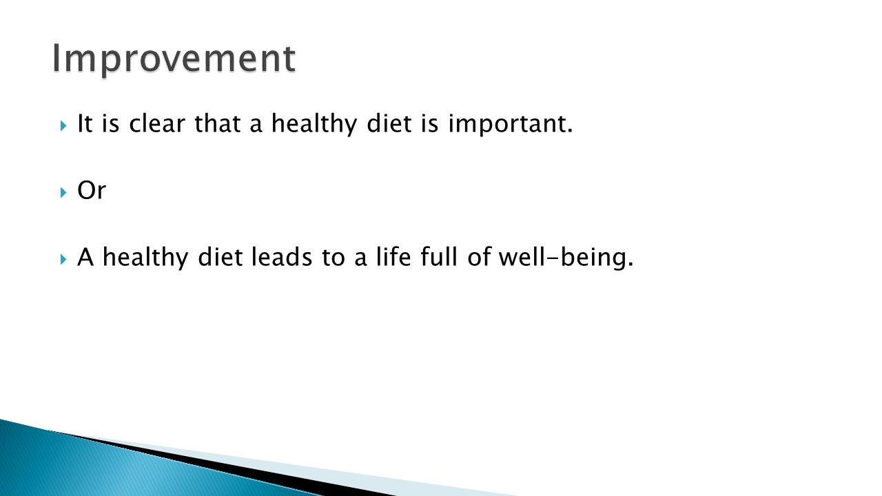  It is clear that a healthy diet is important.