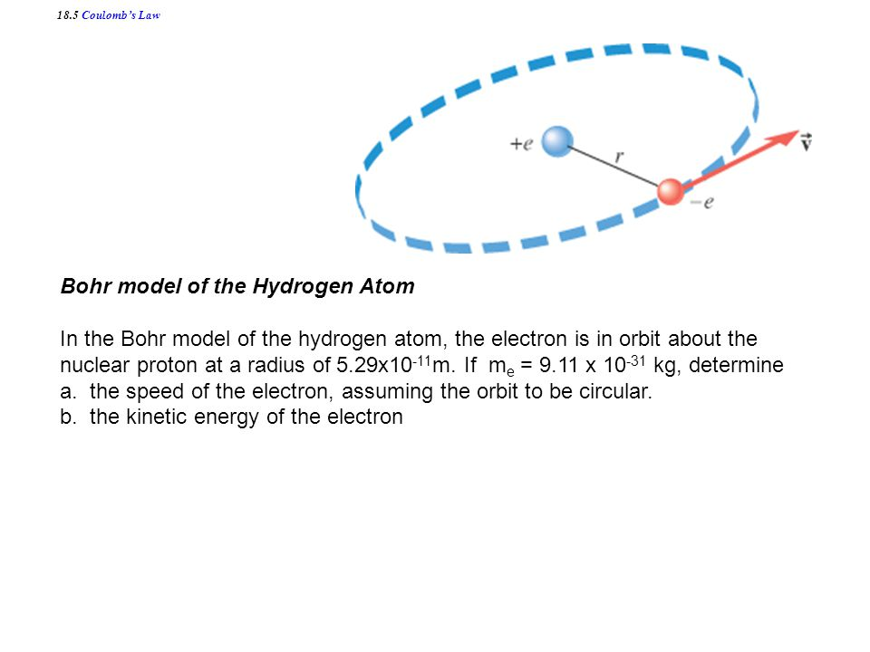 18.5 Coulomb's Law Bohr model of the Hydrogen Atom In the Bohr model of the hydrogen atom, the electron is in orbit about the nuclear proton at a radius of 5.29x10 -11 m.