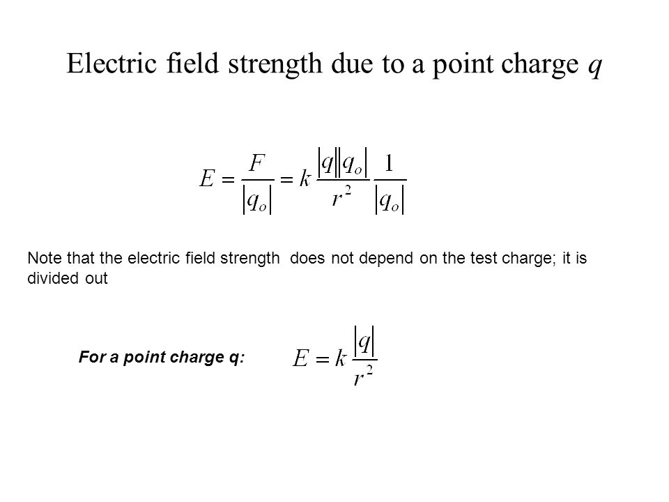 Note that the electric field strength does not depend on the test charge; it is divided out For a point charge q: Electric field strength due to a point charge q