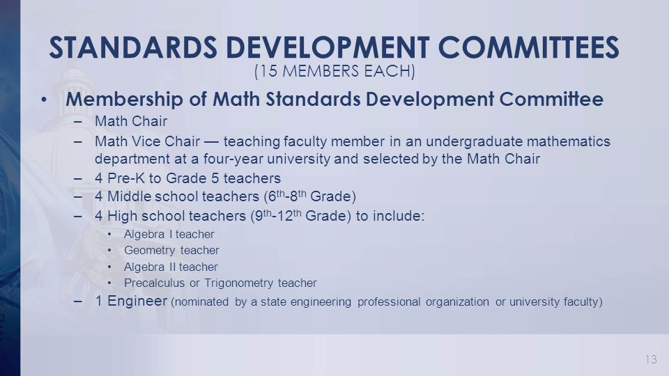 STANDARDS DEVELOPMENT COMMITTEES Membership of Math Standards Development Committee –Math Chair –Math Vice Chair — teaching faculty member in an undergraduate mathematics department at a four-year university and selected by the Math Chair –4 Pre-K to Grade 5 teachers –4 Middle school teachers (6 th -8 th Grade) –4 High school teachers (9 th -12 th Grade) to include: Algebra I teacher Geometry teacher Algebra II teacher Precalculus or Trigonometry teacher –1 Engineer (nominated by a state engineering professional organization or university faculty) 13 (15 MEMBERS EACH)