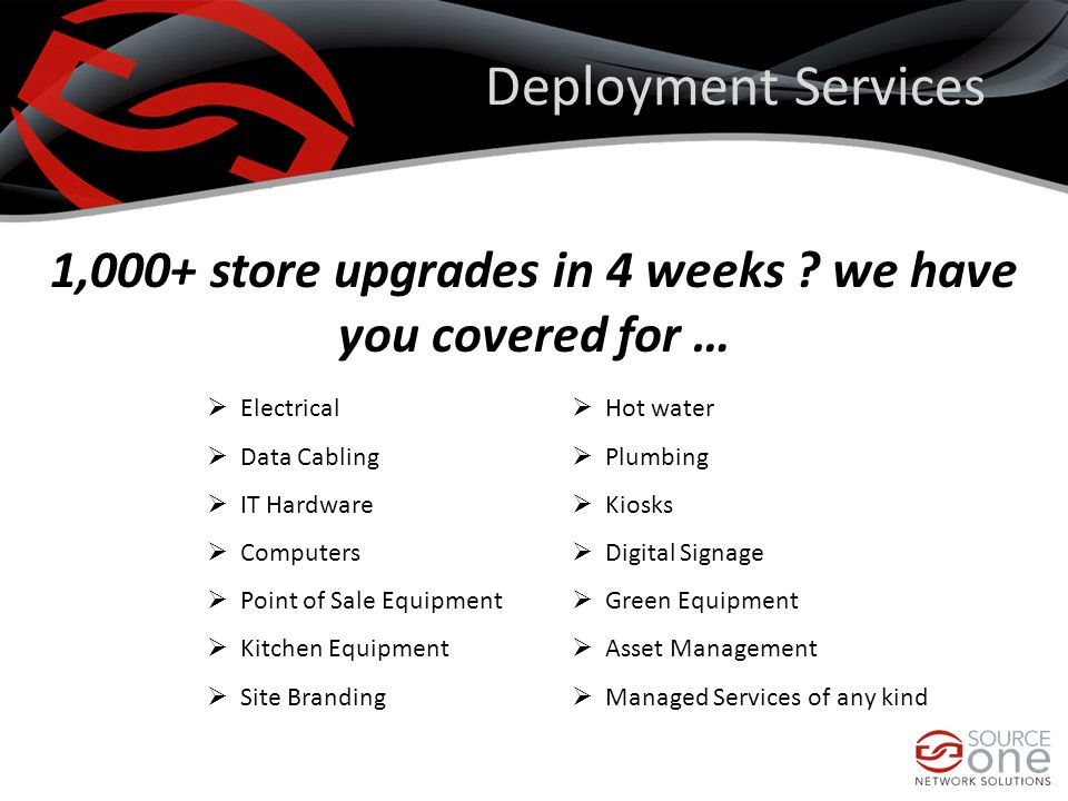 Deployment Services 1,000+ store upgrades in 4 weeks .