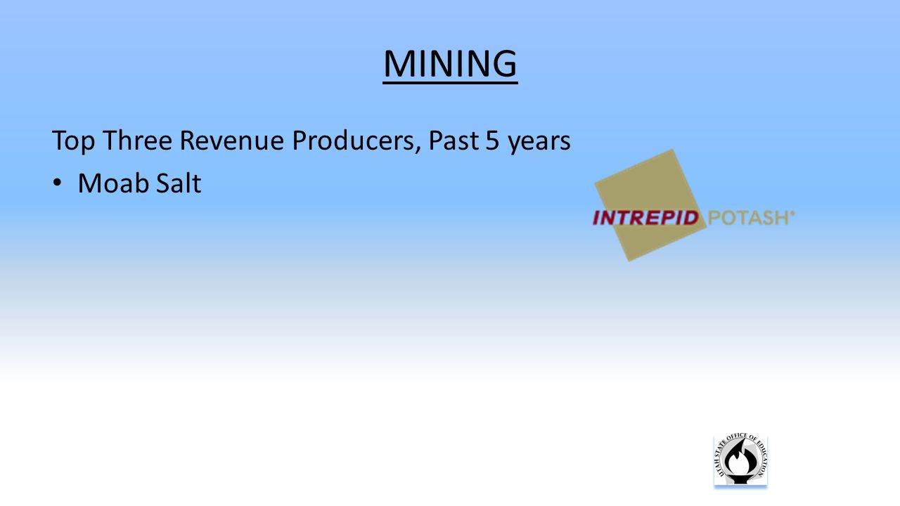 MINING Top Three Revenue Producers, Past 5 years Moab Salt