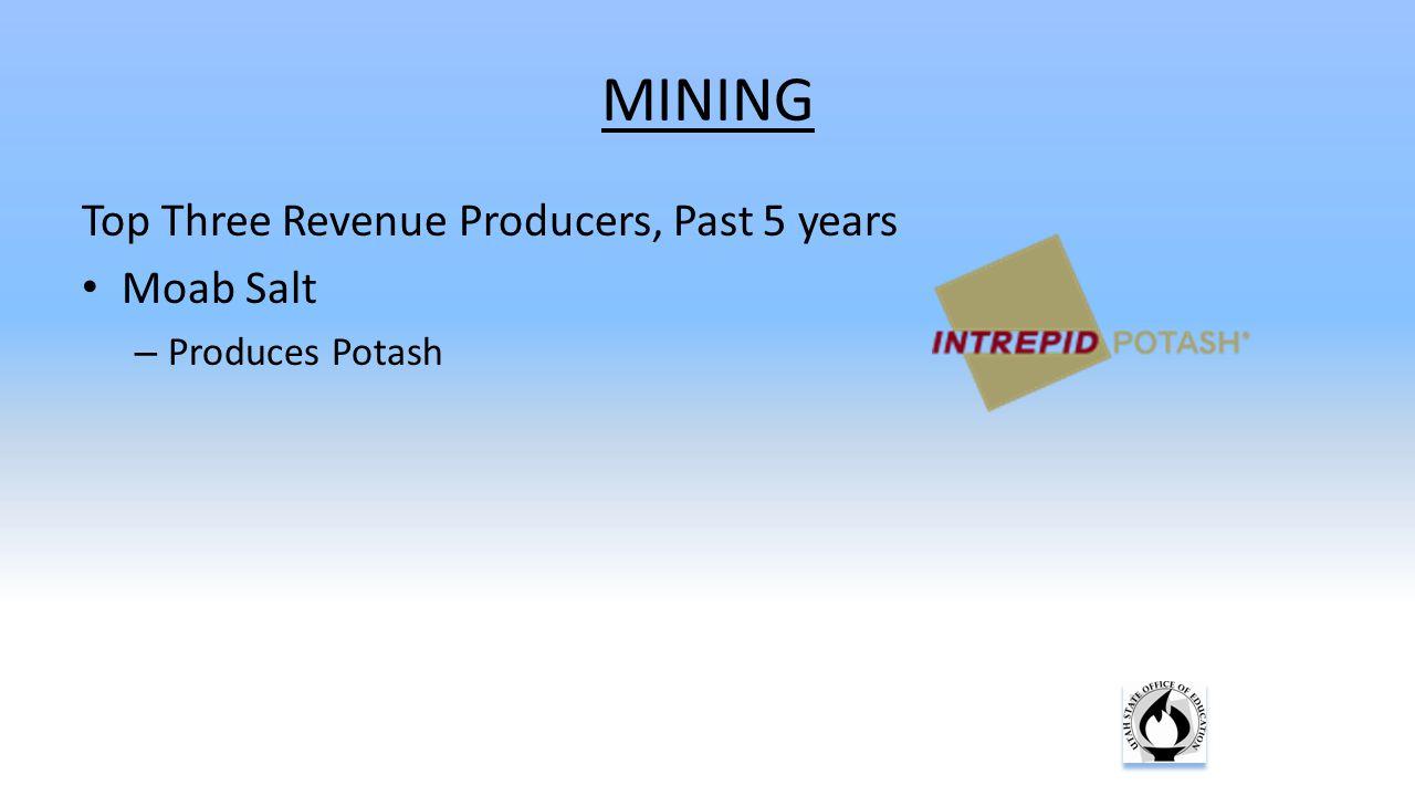 MINING Top Three Revenue Producers, Past 5 years Moab Salt – Produces Potash