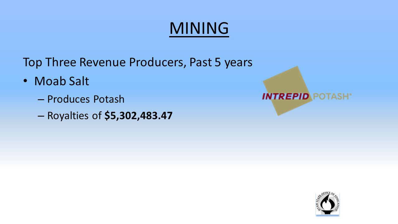 MINING Top Three Revenue Producers, Past 5 years Moab Salt – Produces Potash – Royalties of $5,302,483.47
