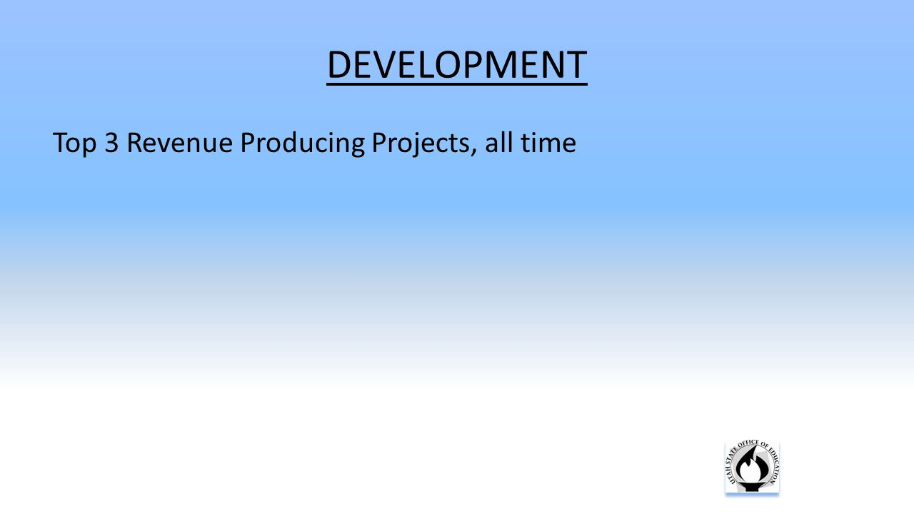 DEVELOPMENT Top 3 Revenue Producing Projects, all time