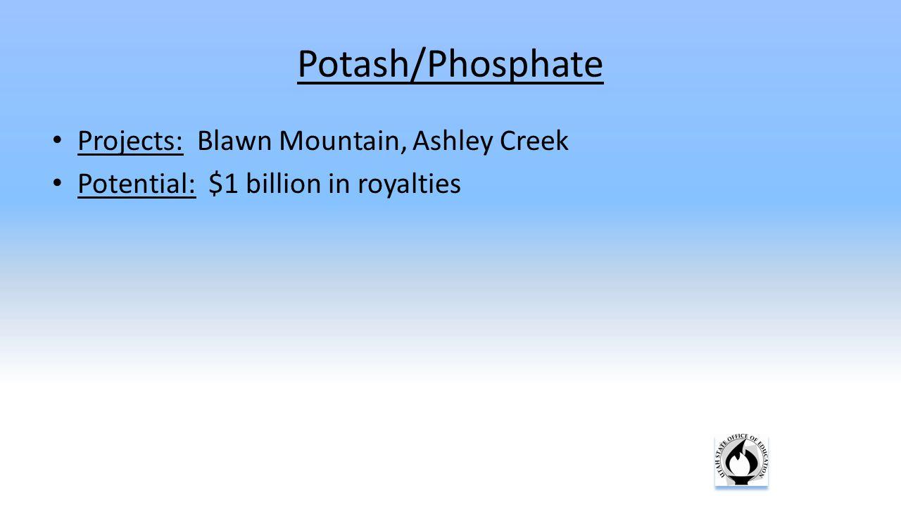 Potash/Phosphate Projects: Blawn Mountain, Ashley Creek Potential: $1 billion in royalties