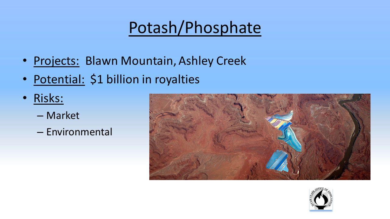 Potash/Phosphate Projects: Blawn Mountain, Ashley Creek Potential: $1 billion in royalties Risks: – Market – Environmental