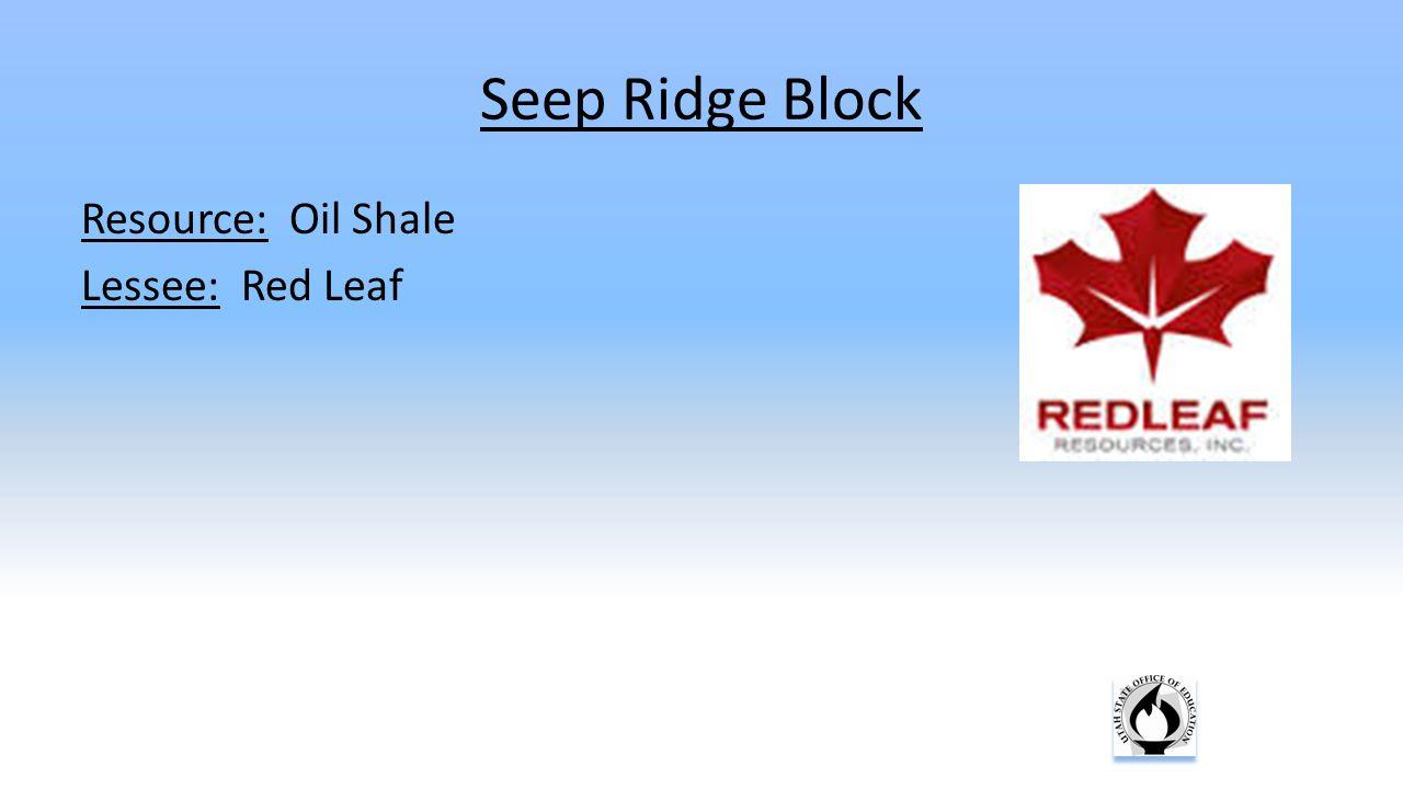 Seep Ridge Block Resource: Oil Shale Lessee: Red Leaf