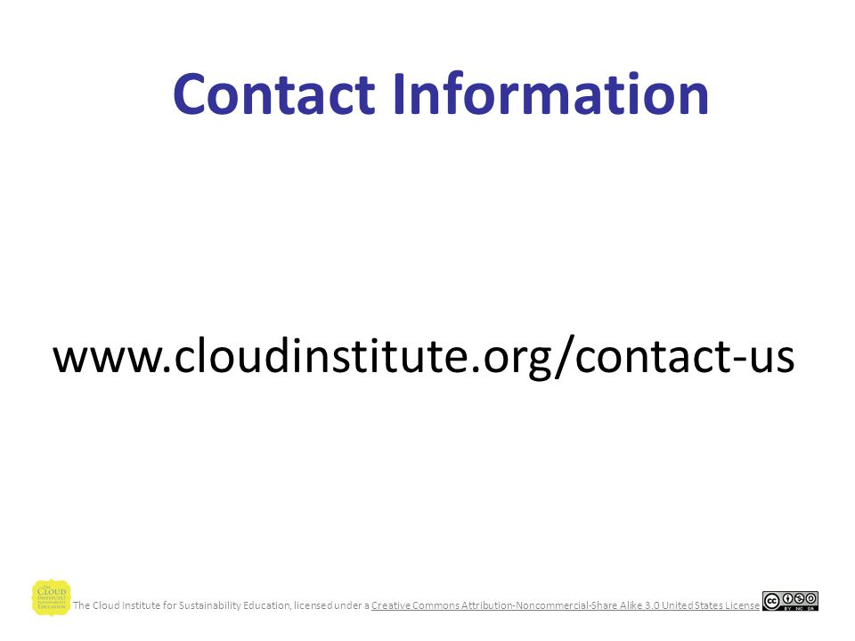 The Cloud Institute for Sustainability Education, licensed under a Creative Commons Attribution-Noncommercial-Share Alike 3.0 United States License The Cloud Institute at Work Consulting and Coaching Services –Curriculum Design & Mapping –Gap/Strength Assessment & Analysis –Organizational Learning & Change –Leadership Development Curriculum Materials –Units of Study –Full Courses of Study –Assessment Tools Professional Development Research and Development AwarenessLeadershipDesignSkill Development