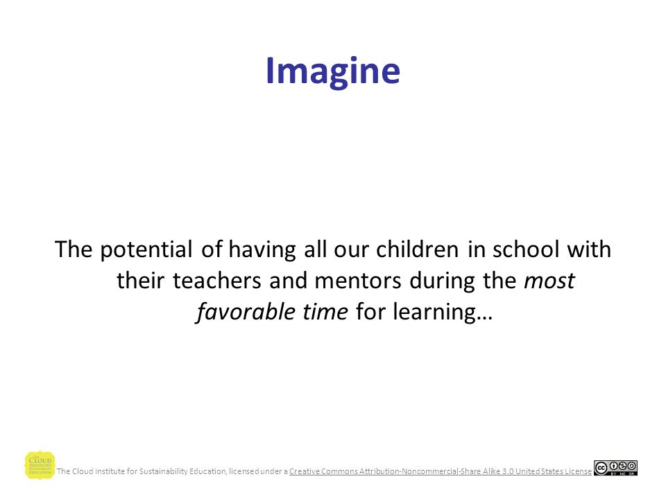 The Cloud Institute for Sustainability Education, licensed under a Creative Commons Attribution-Noncommercial-Share Alike 3.0 United States License Imagine Schools are learning organizations.