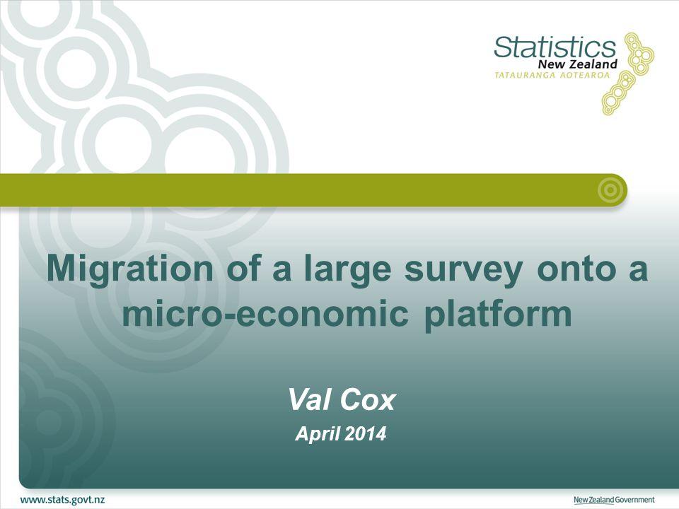 Migration of a large survey onto a micro-economic platform Val Cox April 2014
