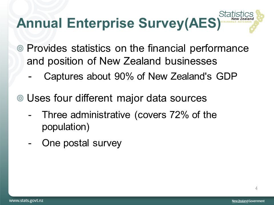 Annual Enterprise Survey(AES) Provides statistics on the financial performance and position of New Zealand businesses - Captures about 90% of New Zealand s GDP Uses four different major data sources -Three administrative (covers 72% of the population) -One postal survey 4
