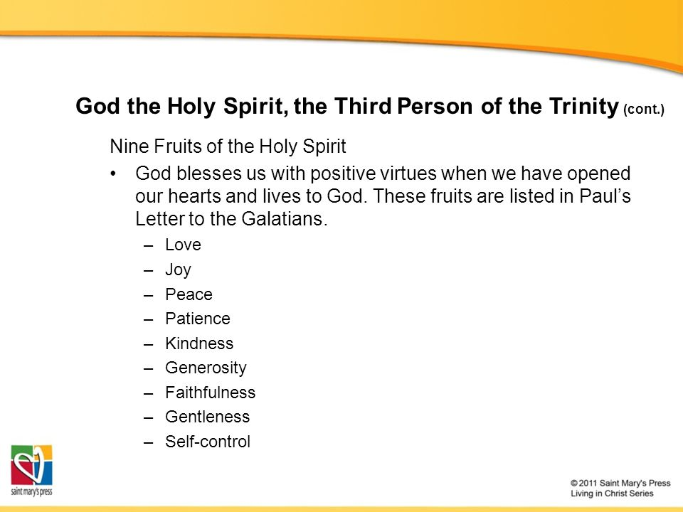 Nine Fruits of the Holy Spirit God blesses us with positive virtues when we have opened our hearts and lives to God.