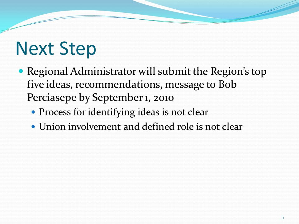 Next Step Regional Administrator will submit the Region's top five ideas, recommendations, message to Bob Perciasepe by September 1, 2010 Process for