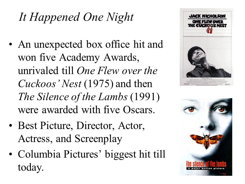 It Happened One Night An unexpected box office hit and won five Academy Awards, unrivaled till One Flew over the Cuckoos' Nest (1975) and then The Sil