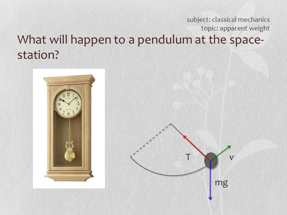 What will happen to a pendulum at the space- station? subject: classical mechanics topic: apparent weight T mg v